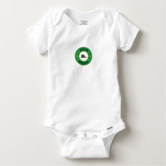 green zoo animal tag baby onesie