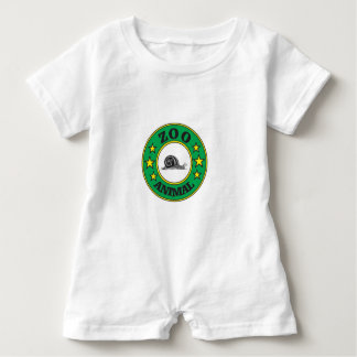 green zoo animal tag baby romper