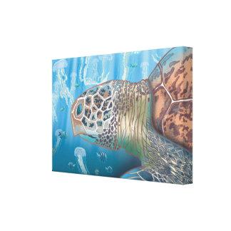 Greenback turtle and jellyfish canvas print