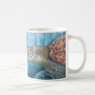 Greenback turtle and jellyfish classic white coffee mug