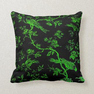 GreenBirds On Black Linen Illos Throw Pillow