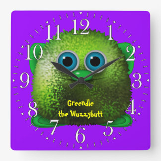 Greendle the Wuzzybutt Kids' Fun Cartoon Clock