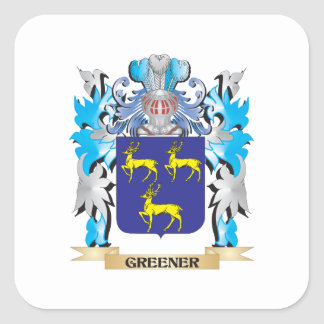 Greener Coat of Arms - Family Crest Square Stickers