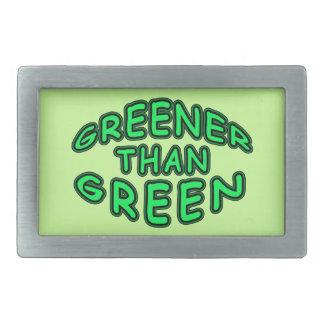 GREENER THAN GREEN FUN LOGO RECTANGULAR BELT BUCKLES