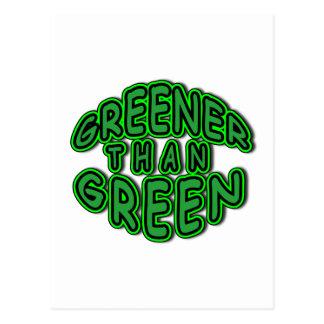 GREENER THAN GREEN fun round green logo Postcard
