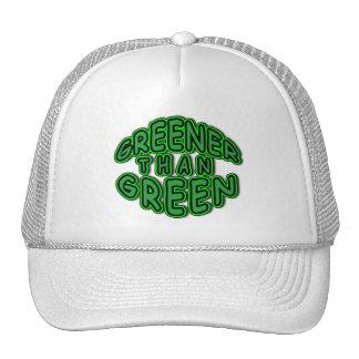 GREENER THAN GREEN fun round green logo Trucker Hat