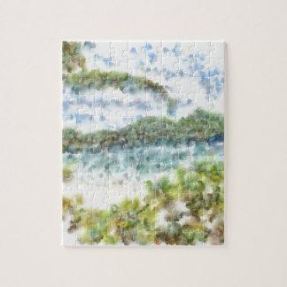 Greenery and an island beach jigsaw puzzles
