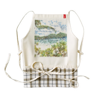 Greenery and an island beach zazzle HEART apron