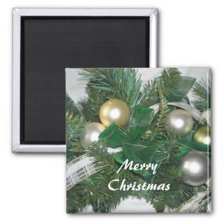 Greenery and Christmas Balls 2 Inch Square Magnet