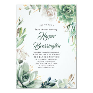 Greenery And Gold Elegant Summer Baby Shower Invitation