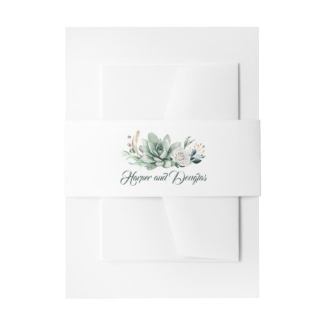 Greenery and Gold Elegant Wedding Invitation Belly Band