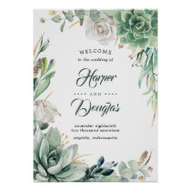 Greenery and Gold Elegant Wedding Welcome Sign