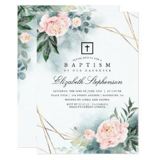 Greenery and Pink Flowers Elegant Modern Baptism Invitation