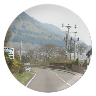 Greenery and road next to Loch Ness Party Plate