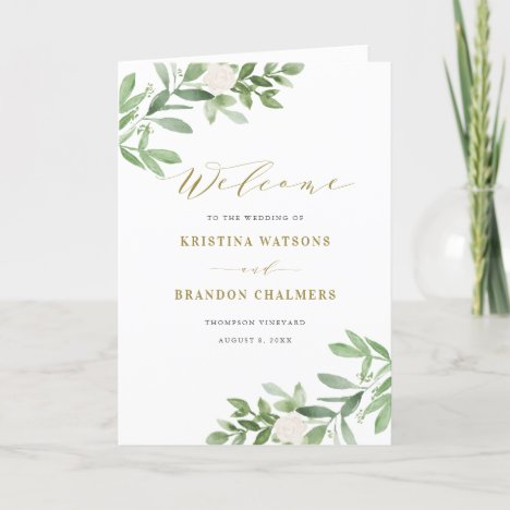 Greenery and White Floral Gold Wedding Booklet Program
