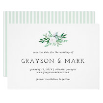 Greenery and White Floral Save the Date Invitation