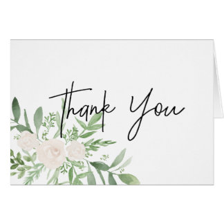 Greenery and white Thank you Card