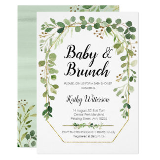 greenery baby brunch shower invitation