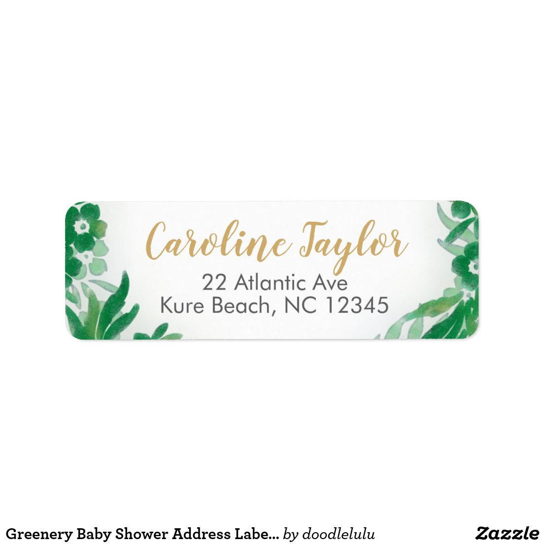 Greenery Baby Shower Address Label green and gold
