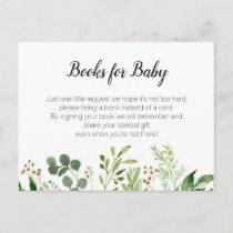 Greenery Baby Shower - Bring a book insert Invitation Postcard
