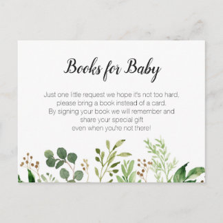 Greenery Baby Shower - Bring a book insert Invitation Postcard