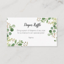 Greenery Baby Shower - Diaper Raffle Card