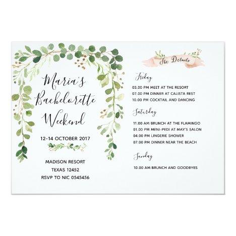 Greenery Bachelorette Weekend Itinerary Invitation