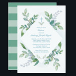 "Greenery Baptism Invite<br><div class=""desc"">VG Invites greenery Baptism invitation frames your religious event details with lush painted watercolor greens. Bold stripes adorn the back of your invite. A modern yet organic choice your boy&#39;s Baptism. Designed by Victoria. To see more visit www.zazzle.com/vginvites</div>"