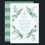 """Greenery Baptism Invite<br><div class=""""desc"""">VG Invites greenery Baptism invitation frames your religious event details with lush painted watercolor greens. Bold stripes adorn the back of your invite. A modern yet organic choice your boy&#39;s Baptism. Designed by Victoria. To see more visit www.zazzle.com/vginvites</div>"""