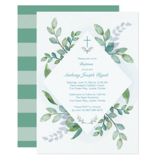 Greenery Baptism Invite