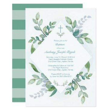 Toddler & Baby themed Greenery Baptism Invite