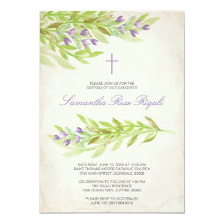 Greenery Baptism Invite Lavender Flowers