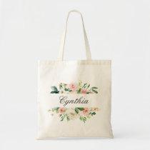 Greenery Blush Pink Watercolor Floral Bridesmaid Tote Bag
