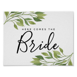 greenery botanical here comes the bride poster