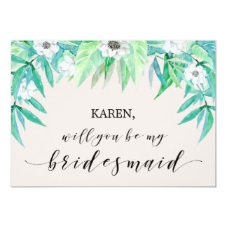 Greenery Botanical Leaf Will You Be My Bridesmaid Card
