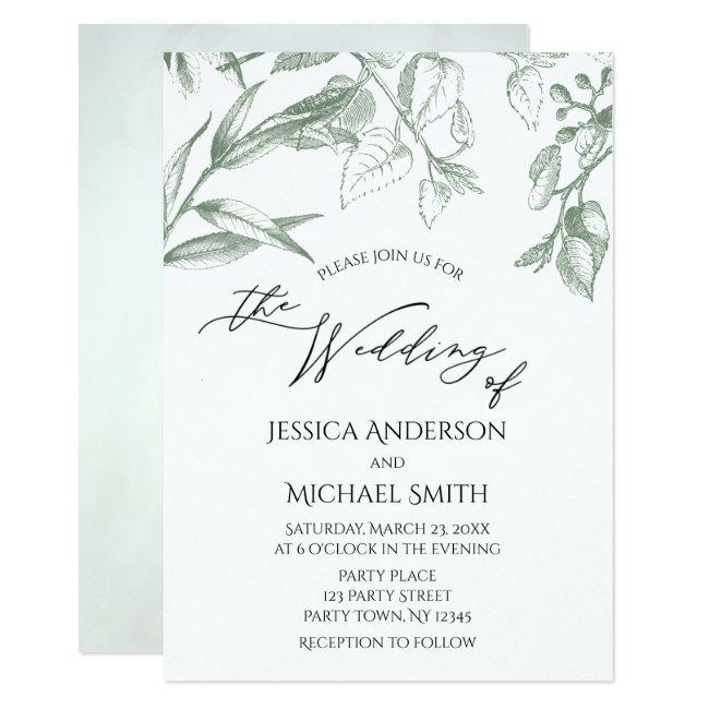 Greenery Botanical Leaves Wedding Card