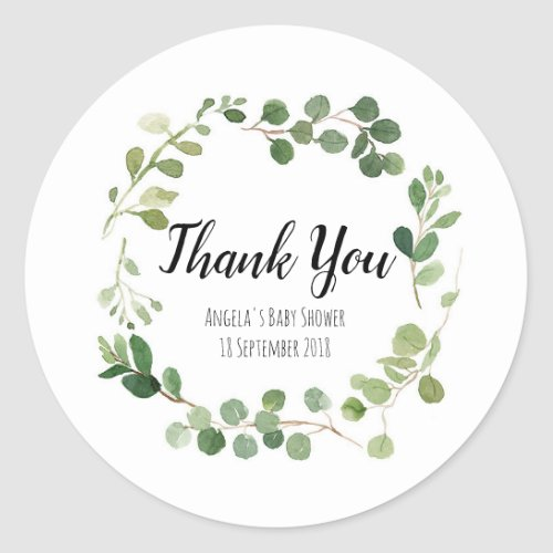Greenery Botanical Thank You Sticker