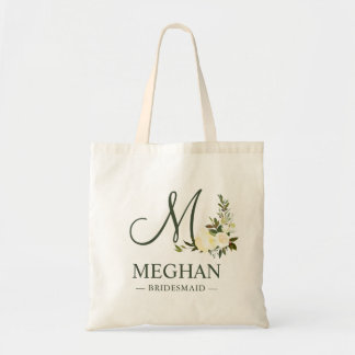 Greenery Botanical Watercolor Floral Bridesmaid Tote Bag
