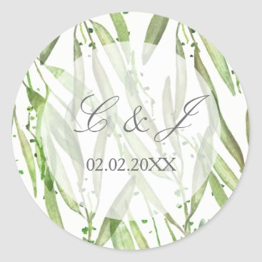 Greenery Botanical Wedding Classic Round Sticker