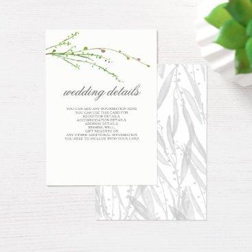 Greenery Botanical Wedding Details Enclosure Cards