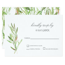 Greenery Botanical Wedding RSVP Card