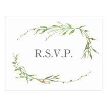 Greenery Botanical Wedding RSVP Postcard