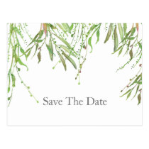 Greenery Botanical Wedding Save the Date Postcard