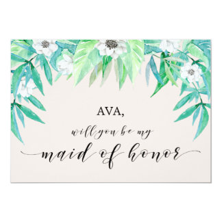 Greenery Botanical Will You Be My Maid Of Honor Card