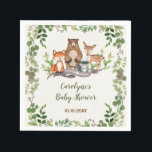 "Greenery Botanical Woodland Animals Baby Shower Napkin<br><div class=""desc"">This design features illustration of rustic watercolor greens,  foliages and adorable forest animals: fox,  deer,  bear and raccoon</div>"