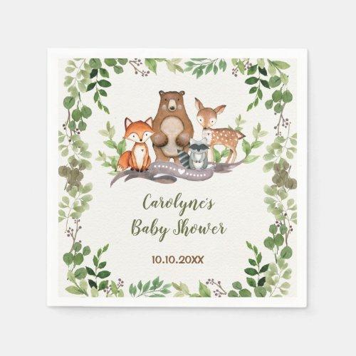 Greenery Botanical Woodland Animals Baby Shower Napkin