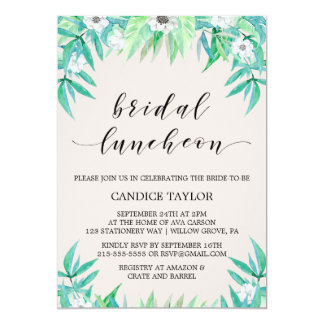 Greenery Botanical Wreath & Flower Bridal Luncheon Card