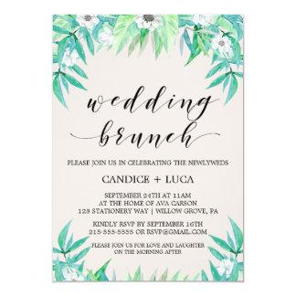 Greenery Botanical Wreath & Flowers Wedding Brunch Card