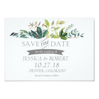 Greenery Bouquet Save The Date Card