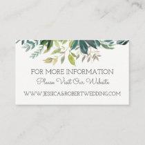 Greenery Bouquet Wedding Website Details Card